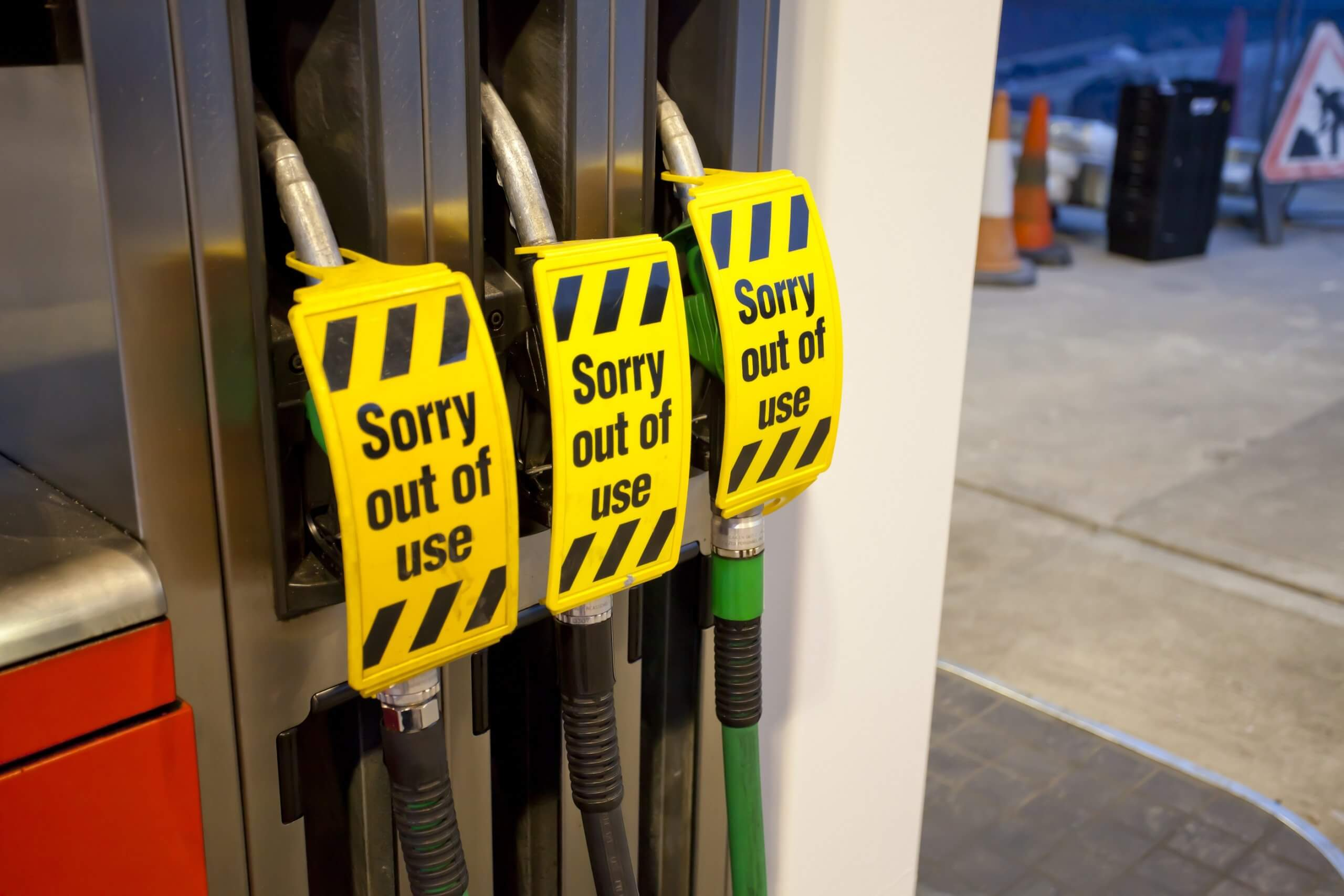 Fuel,Pump,With,Out,Of,Order,Sign,On